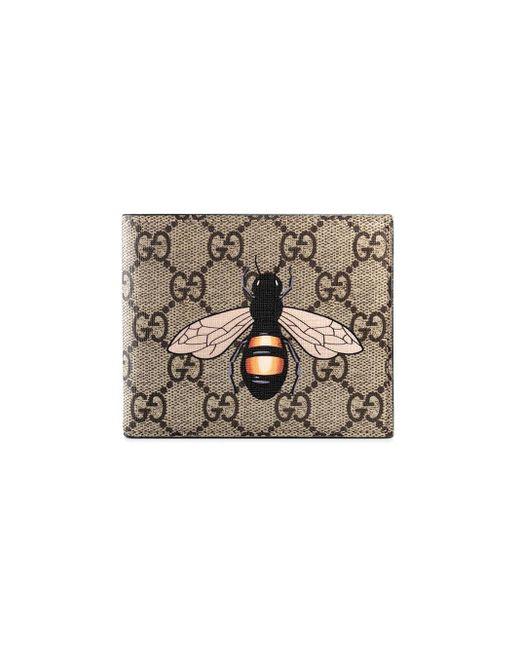 Кошелек С Узором GG Supreme И Принтом Пчелы Gucci для него, цвет: Multicolor