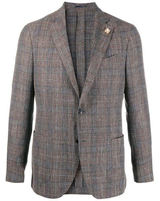 メンズ Lardini チェック ジャケット Gray