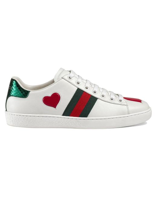 Gucci White Ace Heart-embellished Leather Sneakers