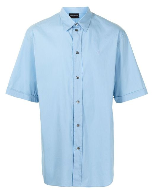 メンズ Emporio Armani ロゴ ショートスリーブシャツ Blue