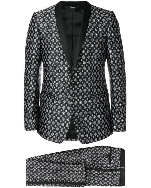 Dolce & Gabbana Black Jacquard Suit for men