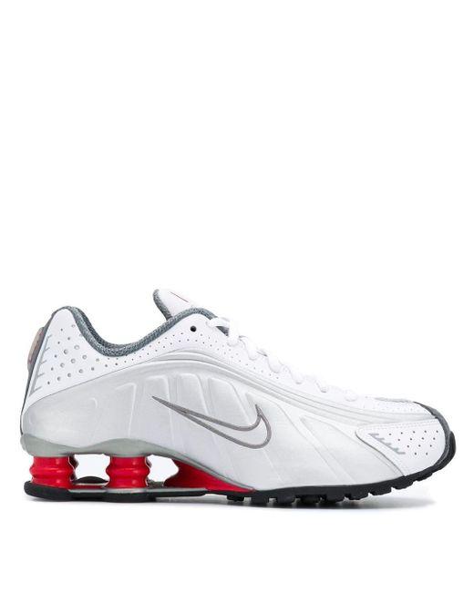 メンズ Nike ホワイト And シルバー ショックス R4 スニーカー White