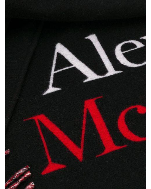 Châle en maille intarsia Alexander McQueen pour homme en coloris Black