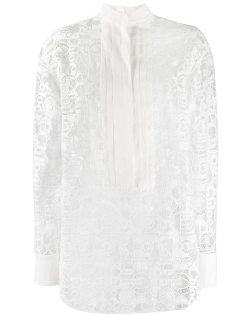 Chloé ロゴ レース シャツ White