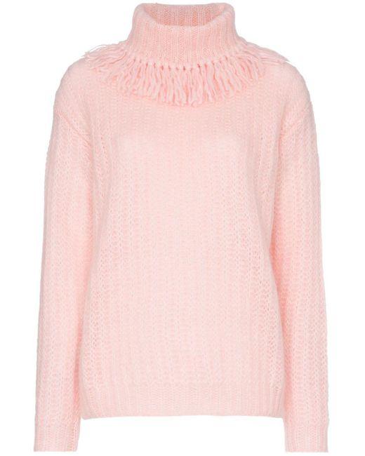 Miu Miu フリンジ ロールネック セーター Pink
