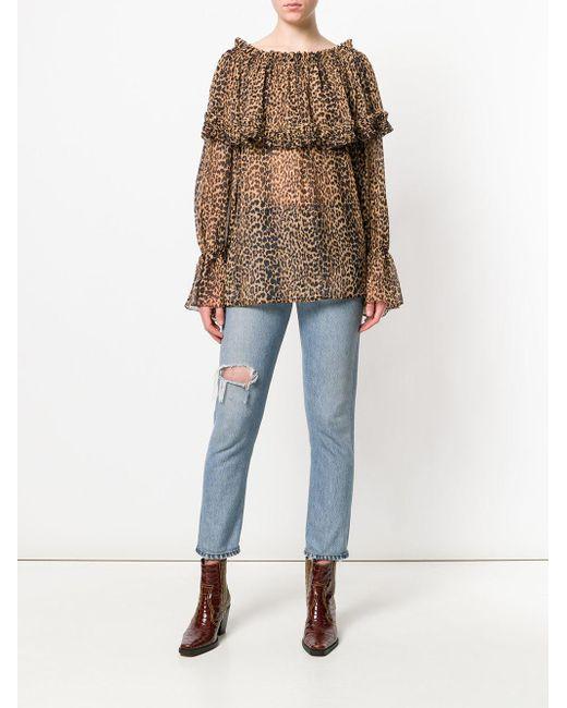 ee612564 ... Saint Laurent - Brown Leopard Print Blouse - Lyst ...