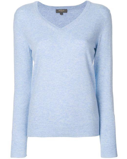 N.Peal Cashmere カシミア Vネック セーター Blue