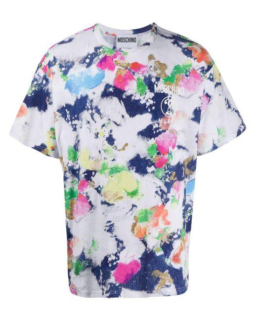 メンズ Moschino アブストラクトプリント Tシャツ Blue