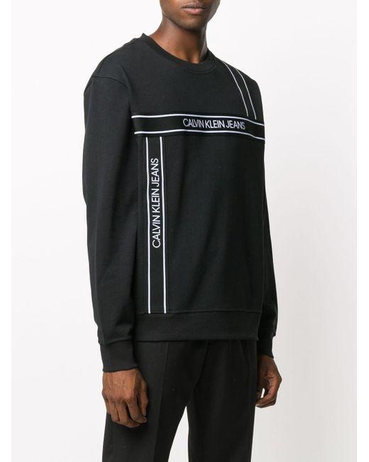 メンズ Calvin Klein ロゴ スウェットシャツ Black