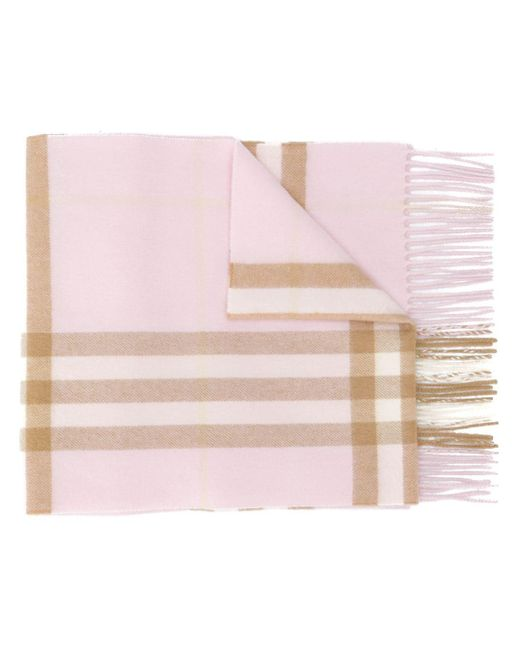 Burberry カシミア チェック スカーフ Pink