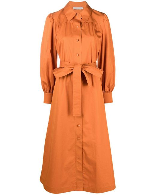 Tory Burch ベルテッド シャツドレス Orange