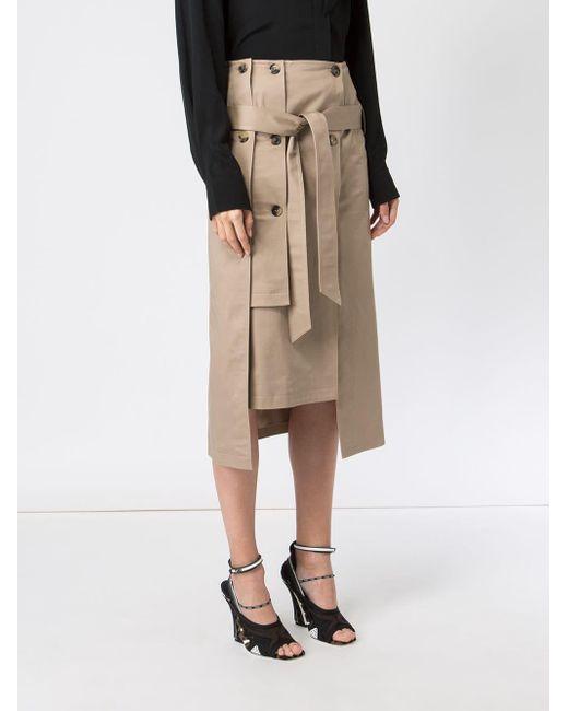 45209ef1a Falda midi estilo gabardina de mujer de color marrón