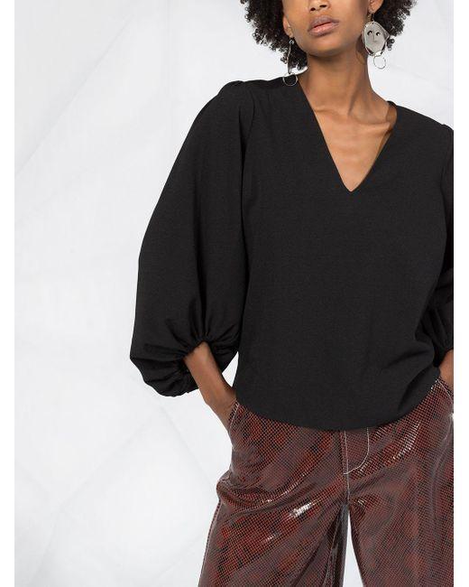 Креповая Блузка С V-образным Вырезом Ganni, цвет: Black
