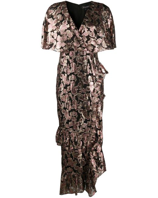 Saloni メタリック ドレス Black