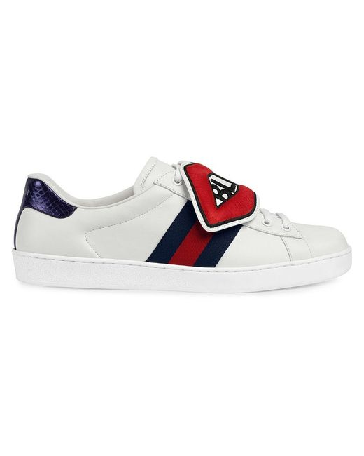 878f061e0d8 Gucci - White Ace Sneaker With Removable Embroideries for Men - Lyst ...