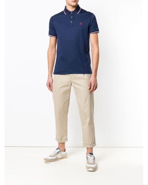 メンズ Polo Ralph Lauren ストライプ ポロシャツ Blue