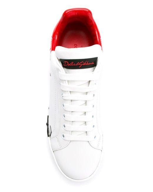 Dolce & Gabbana White Patent Calfskin Portofino Sneakers