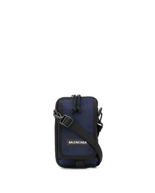 メンズ Balenciaga ロゴ メッセンジャーバッグ Blue