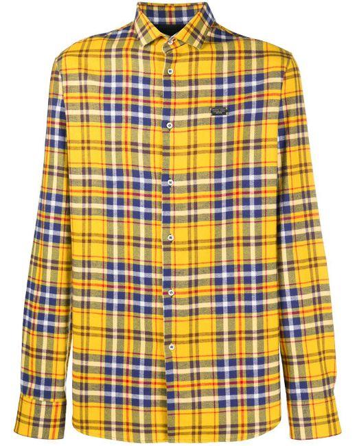 Рубашка С Длинными Рукавами И Вышивкой Philipp Plein для него, цвет: Yellow
