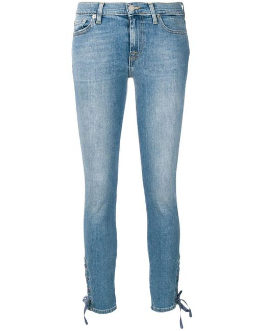 7 For All Mankind ストーンウォッシュ スキニージーンズ Blue