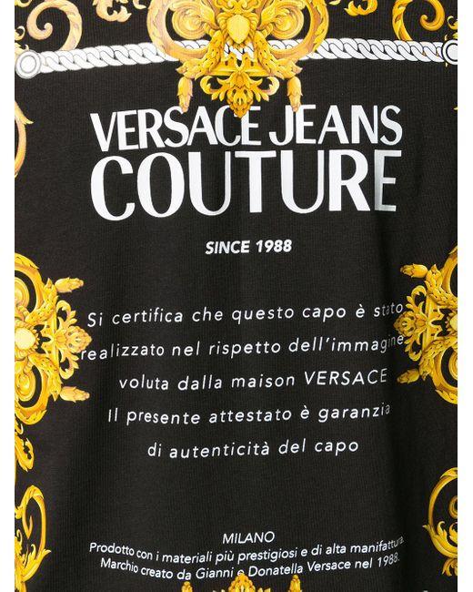 Футболка С Принтом Baroque И Логотипом Versace Jeans для него, цвет: Black