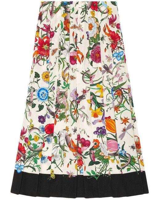 Юбка С Принтом Flora Snake Gucci, цвет: Multicolor