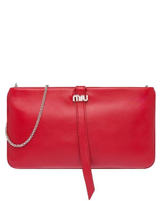 Miu Miu レザー クラッチバッグ Red