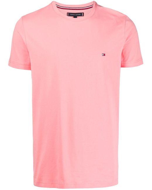メンズ Tommy Hilfiger ロゴ Tシャツ Pink