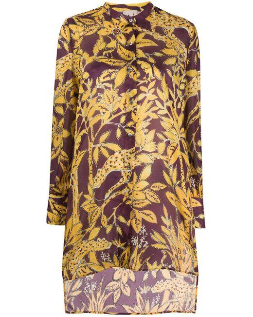 L'Autre Chose フローラル フレアシャツ Purple
