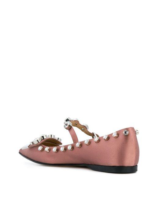 Декорированные Балетки С Заостренным Носком Sergio Rossi, цвет: Pink