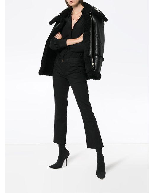 Saint Laurent Black Cropped Flared Jeans