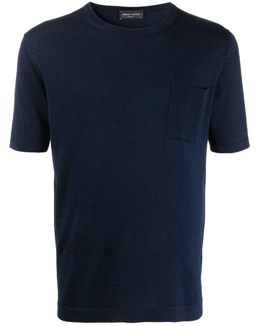 メンズ Roberto Collina チェストポケット Tシャツ Blue