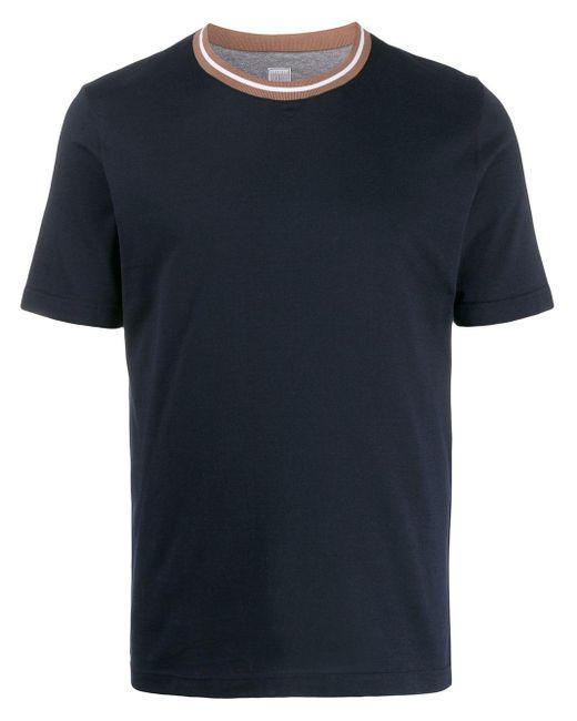 メンズ Eleventy コントラストカラーtシャツ Blue