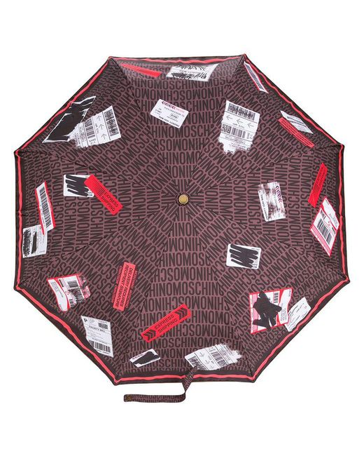 Moschino - Brown Delivery Label Umbrella - Lyst