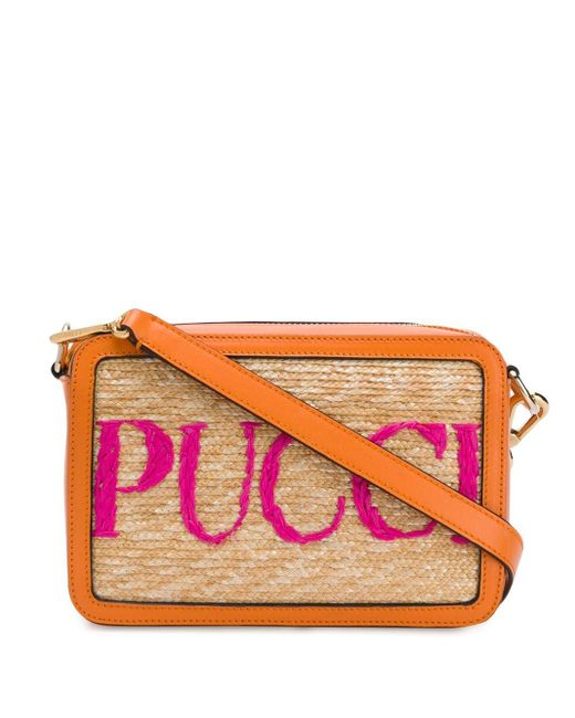 Emilio Pucci ストロー&レザーバッグ Multicolor