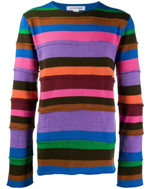 メンズ Comme des Garçons ストライプパネル セーター Multicolor