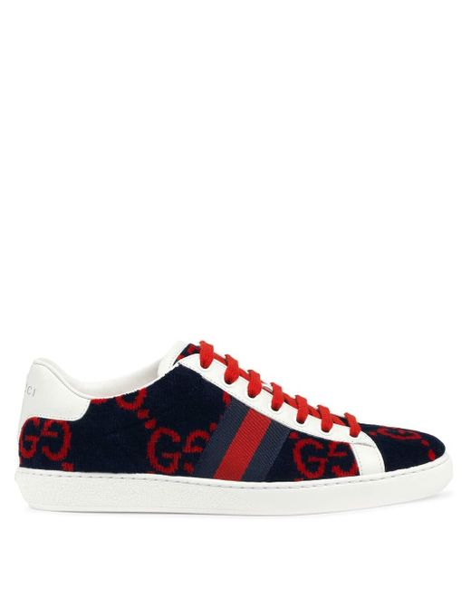 Gucci Blue Women's Ace GG Terry Cloth Sneaker