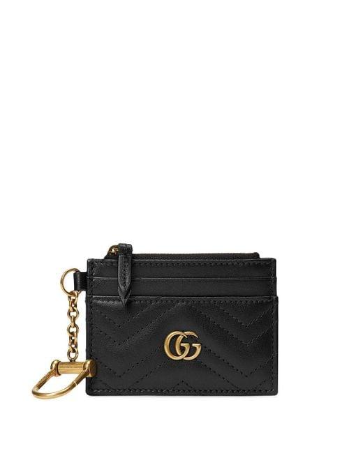 Gucci 【公式】 (グッチ)〔GGマーモント〕キーチェーン付き ウォレットブラック レザー ブラック Black