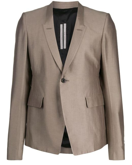 Rick Owens Gray Fitted Single Breasted Blazer for men