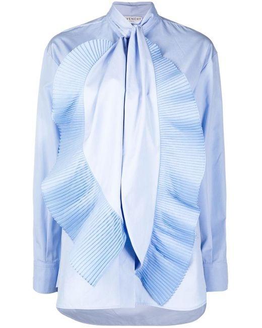 Givenchy プリーツ ラッフル シャツ Blue