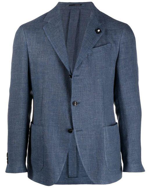 Однобортный Пиджак Строгого Кроя Lardini для него, цвет: Blue