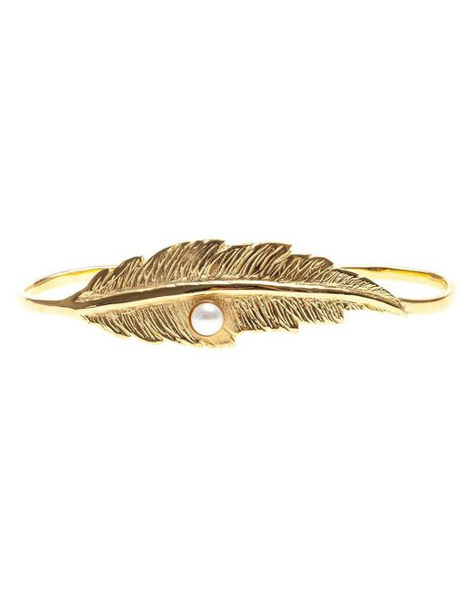 Leivan Kash - Metallic Feather And Pearl Hand Bracelet - Lyst