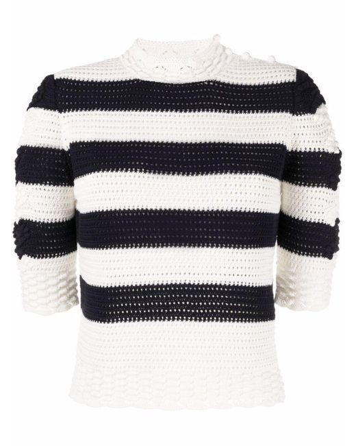 Les Copains チャンキーニット ストライプ セーター White