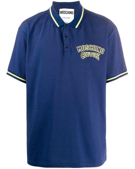 メンズ Moschino ロゴ ポロシャツ Blue