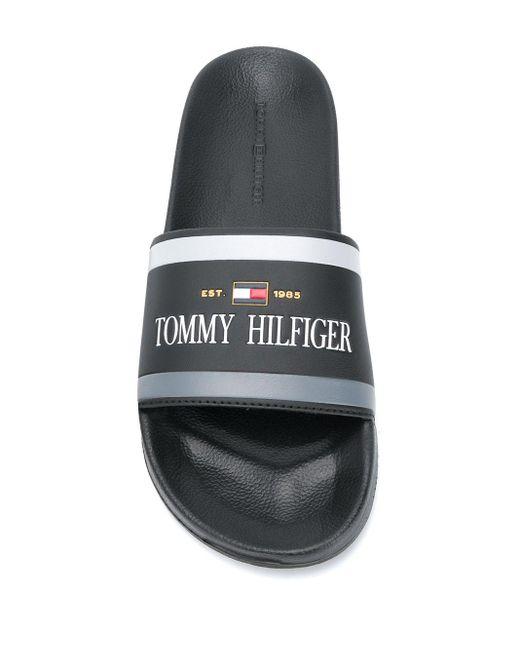 メンズ Tommy Hilfiger ロゴ サンダル Black