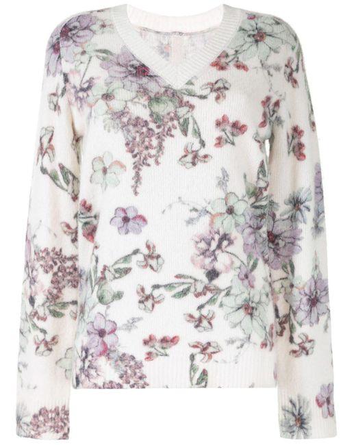 Maglione a fiori di Adam Lippes in White