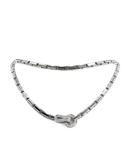 Cartier プレオウンド Agrafe ダイヤモンド ネックレス 18kホワイトゴールド White