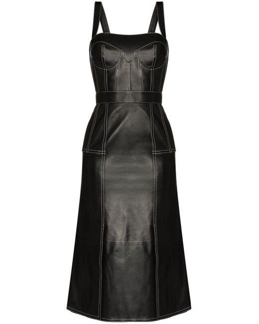 Vestido midi con cuello cuadrado Alexander McQueen de color Black