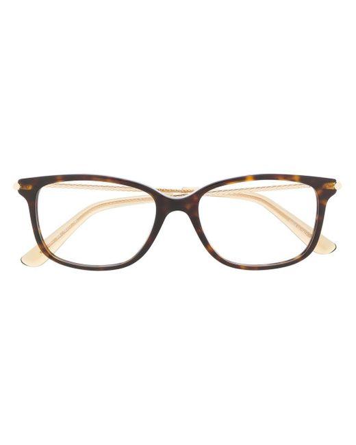 Bottega Veneta スクエア眼鏡フレーム Brown