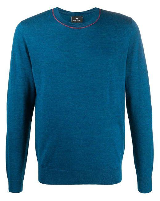 メンズ PS by Paul Smith コントラストカラー セーター Blue